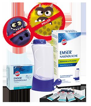 [Translate to Deutsch (Schweiz):] Emser® Nasendusche mit Emser® Nasenspülsalz Portionsbeutel und Comicdarstellung von Pollen und Viren als Nasenmonster